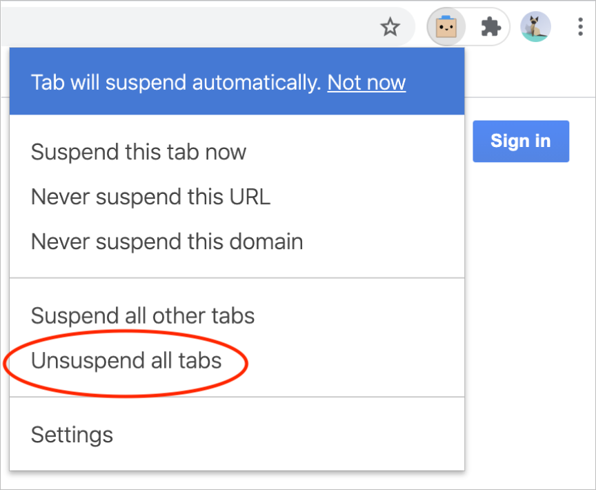 Step one in uninstalling The Great Suspender: unsuspend tabs