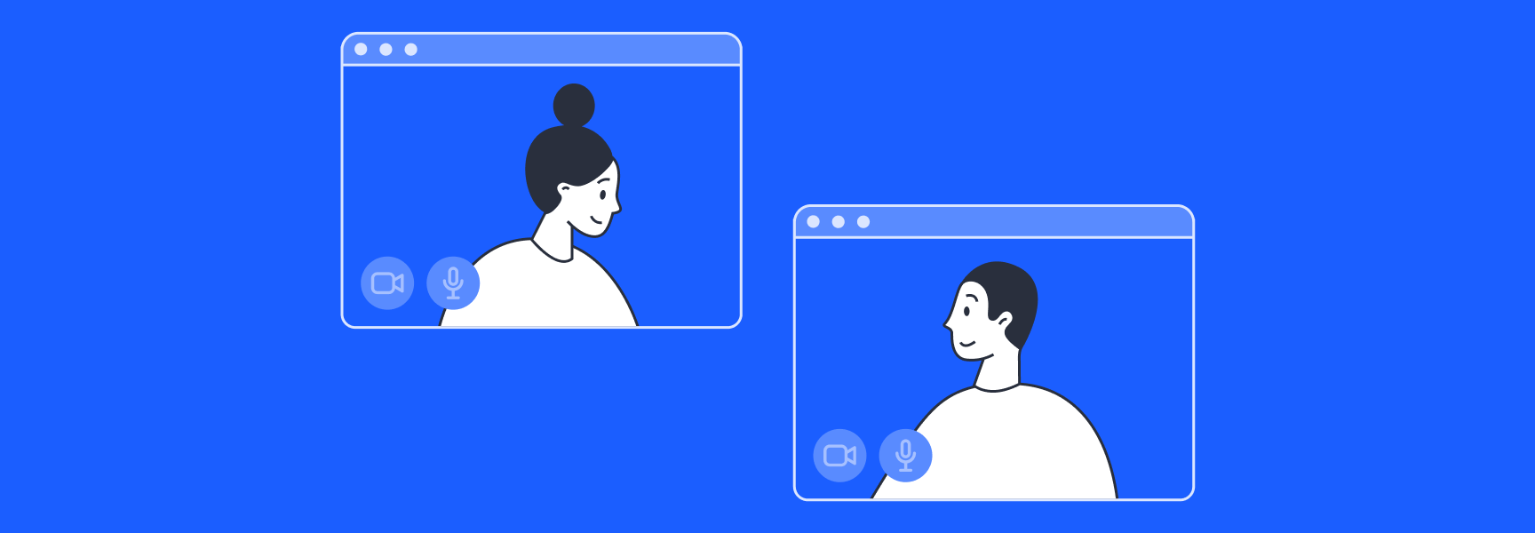 Man and woman in separate virtual meeting boxes, looking at each other and smiling