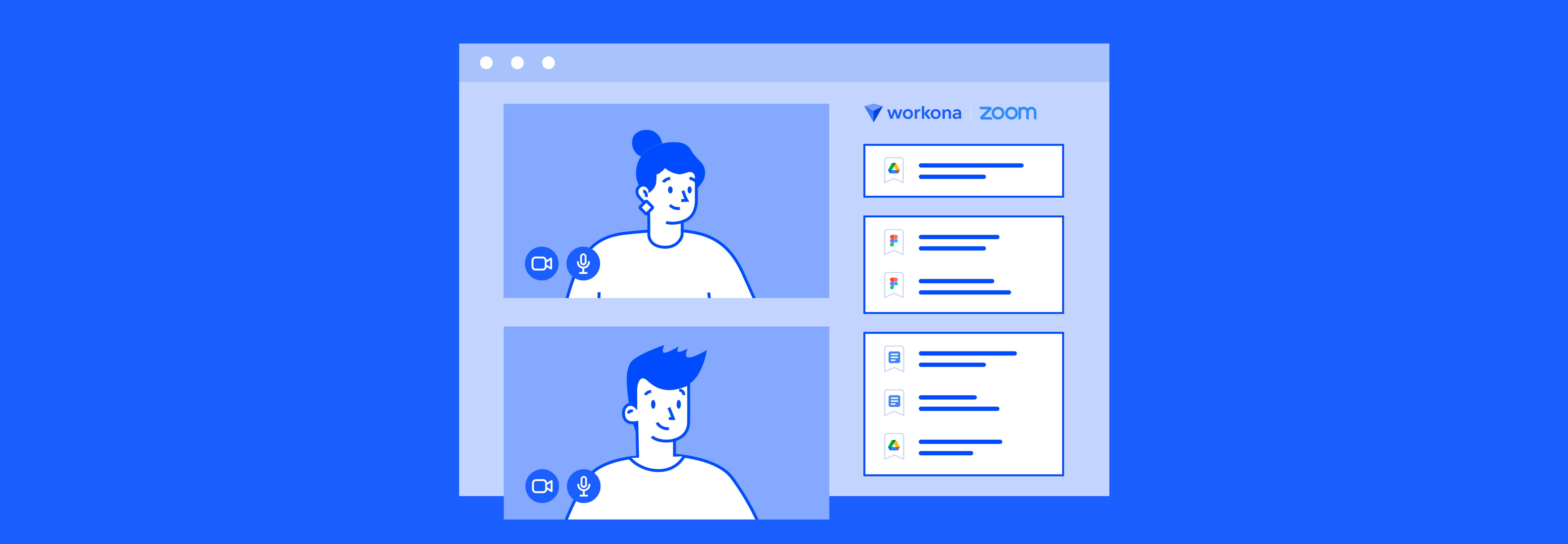 Illustration of a man and woman chatting in a Zoom video call, with the Workona app for Zoom visible