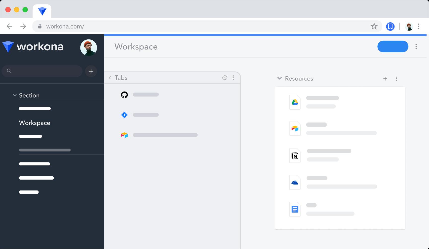 Workona workspace with Google Drive documents