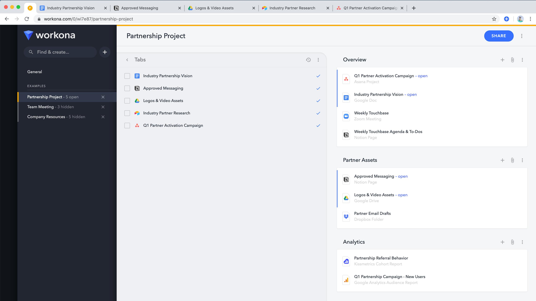 Workona interface screenshot