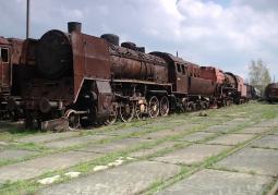 Open-air museum exhibits. Ty45 locomotive.