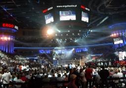 Wnętrze hali podczas gali boksu zawodowego
