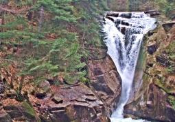 Szklarki waterfall in spring
