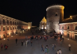 Castle courtyard at night