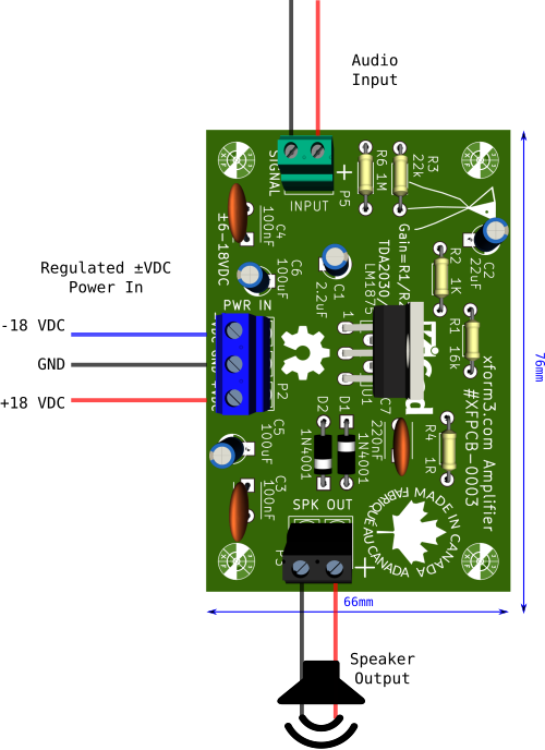 Lm1875 Amplifier PCB Board Wiring Diagram