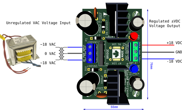 XFPCB-0004 Dual DC Bipolar Power Supply Wiring AC Transformer