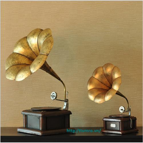 Mô hình Loa kèn - Máy nghe đĩa than cổ Vintage