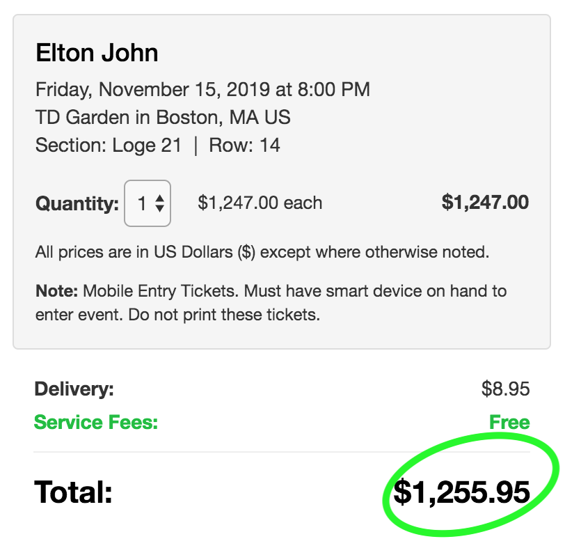 Lower price with no hidden fees on TicketsFeeFree