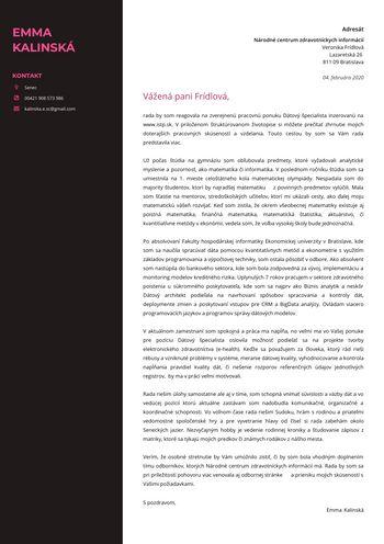 Motivačný list - Dátový analytik