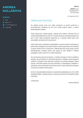 Motivačný list - Marketingový riaditeľ