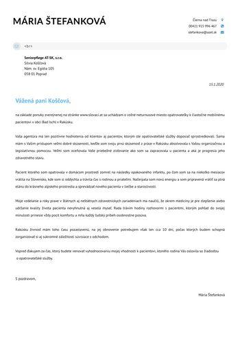 Motivačný list - Opatrovateľka / Zdravotná sestra