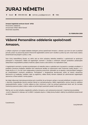 Motivačný list - Skladník - vodič VZV & NZV