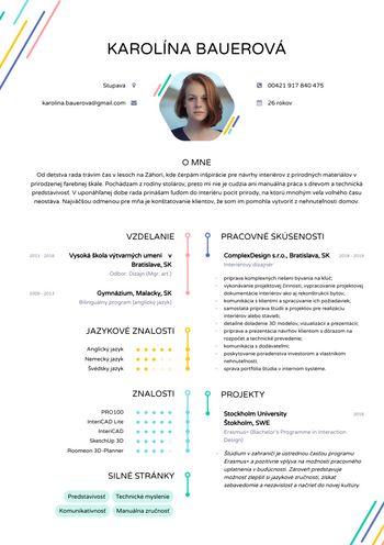 Životopis - Interiérová dizajnérka