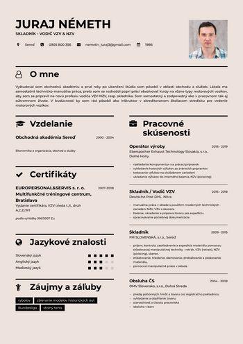 Životopis - Skladník - vodič VZV & NZV