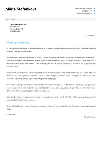 Motivační dopisPečovatelka / Zdravotní sestra