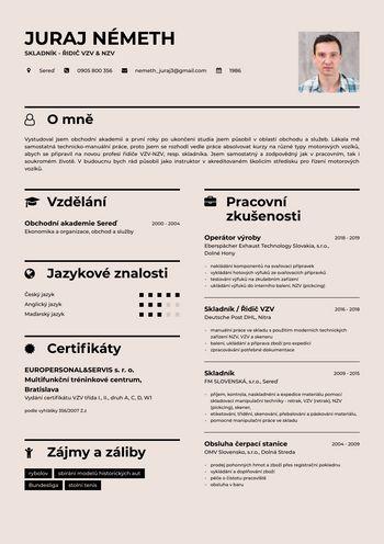 ŽivotopisSkladník - řidič VZV & NZV